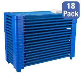 """Blue Stackable Daycare Cot w/ Cot Sheet - Standard (52\"""" L) - Pack of 18 Cots - Stacked Cots"""