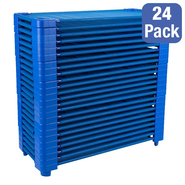"""Blue Stackable Daycare Cot - Standard (52"""" L) - Pack of 24 Cots - Stacked Cots"""