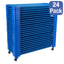 """Blue Stackable Daycare Cot - Standard (52\"""" L) - Pack of 24 Cots w/ Set of Four Casters - Stacked"""
