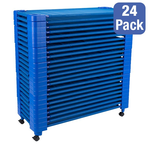 """Blue Stackable Daycare Cot - Standard (52"""" L) - Pack of 24 Cots w/ Set of Four Casters - Stacked"""
