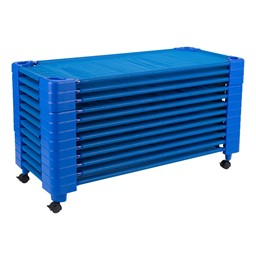 """Blue Stackable Daycare Cot - Standard (52"""" L) - Pack of Cots w/ Set of Four Casters - Stacked"""