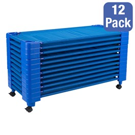 """Blue Stackable Daycare Cot - Toddler (40\"""" L) - Pack of 12 Cots w/ Set of Four Casters"""
