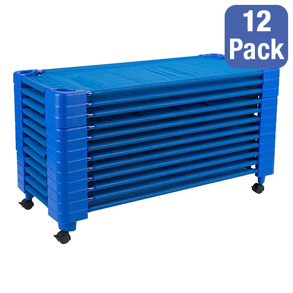 "Blue Stackable Daycare Cot - Standard (52"" L) - Pack of 12 Cots w/ Set of Four Casters - Stacked"