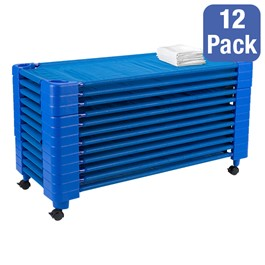 """Blue Stackable Daycare Cot w/ Cot Sheet - Standard (52\"""" L) - Pack of 12 Cots w/ Set of Four Casters - Stacked Cots"""
