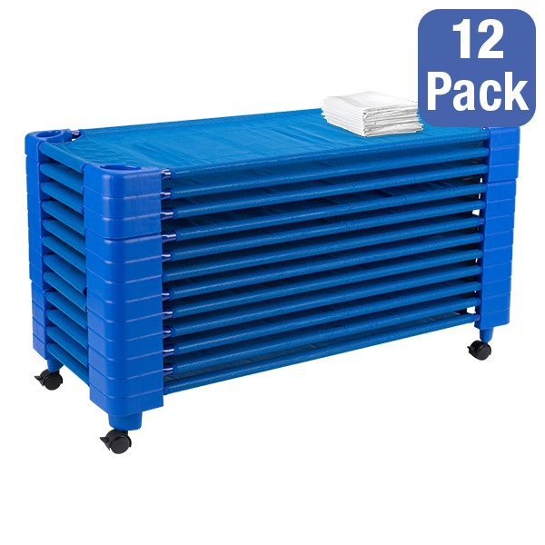 "Blue Stackable Daycare Cot w/ Cot Sheet - Standard (52"" L) - Pack of 12 Cots w/ Set of Four Casters - Stacked Cots"