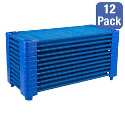 "Blue Stackable Daycare Cot - Standard (52"" L) - Pack of 12 Cots"