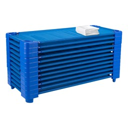 """Blue Stackable Daycare Cot w/ Cot Sheet - Standard (52"""" L) - Pack of Cots - Stacked"""