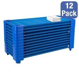 "Blue Stackable Daycare Cot w/ Cot Sheet - Standard (52"" L) - Pack of 12 Cots - Stacked Cots"