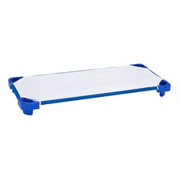 "Blue Stackable Daycare Cot w/ Cot Sheet - Standard (52"" L) - Pack of 12 Cots w/ Set of Four Casters"