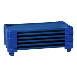 "Blue Stackable Daycare Cot - Standard (52"" L) - Pack of 18 Cots w/ Set of Four Casters - Stacked Cots"