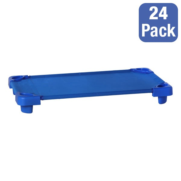"""Blue Stackable Daycare Cot - Toddler (40"""" L) - Pack of 24 Cots"""
