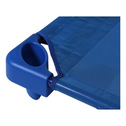 "Blue Stackable Daycare Cot - Standard (52"" L) - Corner detail"