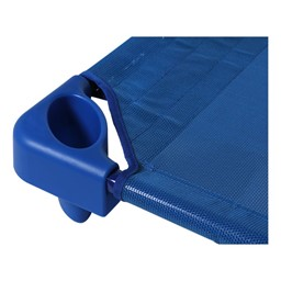 "Blue Stackable Daycare Cot - Standard (52"" L) - Pack of 18 Cots w/ Set of Four Casters - Corner"