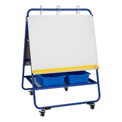 "Magnetic Dry Erase/Flannel Board Preschool Teacher's Easel w/ Accessories (137 Pieces) – 35 1/2"" W x 52"" H"