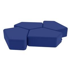 "Shapes Vinyl Soft Seating - 12"" H CommunEDI Four Pack - Blue"