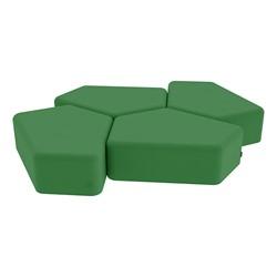 "Shapes Vinyl Soft Seating - 12"" H CommunEDI Four Pack - Green"