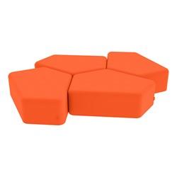 "Shapes Vinyl Soft Seating - 12"" H CommunEDI Four Pack - Orange"