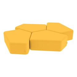 """Shapes Vinyl Soft Seating - 12"""" H CommunEDI Four Pack - Yellow"""