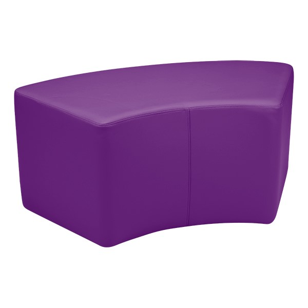 "Preschool Reading Nook w/ Curved Mobile Shelving (24"" H) - Shapes Vinyl Soft Seating - S-Curve (18"" H)"