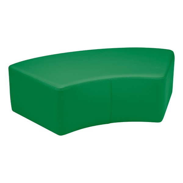 "Preschool Reading Nook w/ Curved Mobile Shelving (24"" H) - Shapes Vinyl Soft Seating - S-Curve (12"" H)"