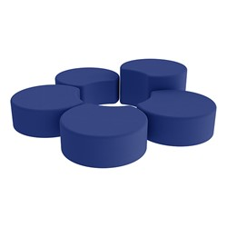 Shapes Vinyl Soft Seating - Crescent Reading Center - Blue