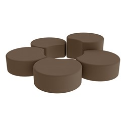 Shapes Vinyl Soft Seating - Crescent Reading Center - Chocolate