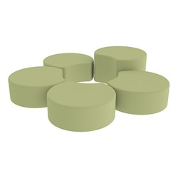 Shapes Vinyl Soft Seating - Crescent Reading Center - Fern Green