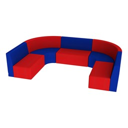 "Shapes Vinyl Structured Soft Seating - Large U-Shape 12"" H - Primary Colors"