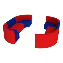 "Shapes Vinyl Structured Soft Seating - Double U-Shape 12"" H - Primary Colors"