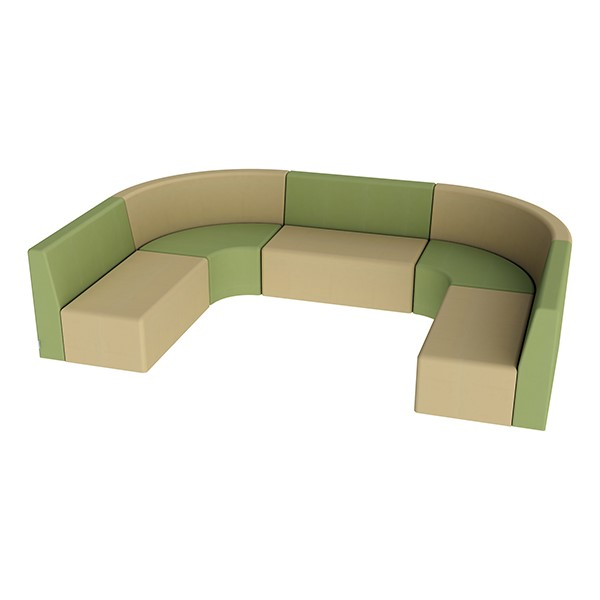 "Shapes Vinyl Structured Soft Seating - Large U-Shape 12"" H (Earth Tone Colors)"
