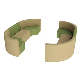 "Shapes Vinyl Structured Soft Seating - Double U-Shape 12"" H (Earth Tone Colors)"