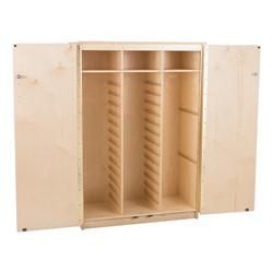 Stationary Tall Cabinet - Assembled w/ 18 Clear Letter Bins & 4 Clear Medium Bins