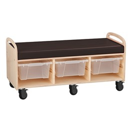 Mobile Cushioned Reading & Storage Bench - Assembled w/ Three Clear Medium Bins