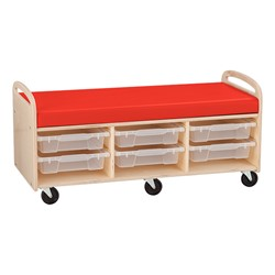 Mobile Cushioned Reading & Storage Bench - Assembled w/ Six Clear Letter Bins