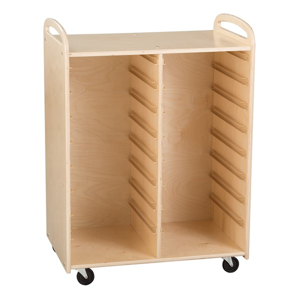 Two-Section Wooden Mobile Storage Unit - Unassembled