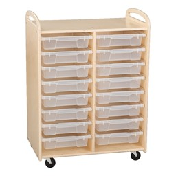Two-Section Wooden Mobile Storage Unit - Assembled w/ 16 Clear Letter Bins