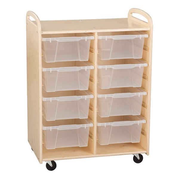 Two-Section Wooden Mobile Storage Unit - Assembled w/ Eight Clear Medium Bins