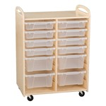 Two-Section Wooden Mobile Storage Unit - Shown w/ bins