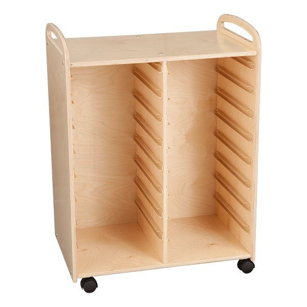 Two-Section Wooden Mobile Storage Unit - Assembled w/ Eight Clear Letter Bins & Four Clear Medium Bins