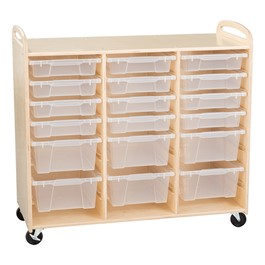 Three-Section Wooden Mobile Storage Unit