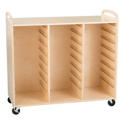 Three-Section Wooden Mobile Storage Unit - Assembled w/ Six Clear Letter Bins & Nine Clear Medium Bins