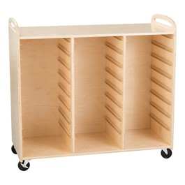 Three-Section Wooden Mobile Storage Unit - Assembled