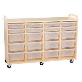 Four-Section Wooden Mobile Storage Unit - Assembled w/ 8 Clear Letter Bins & 12 Clear Medium Bins