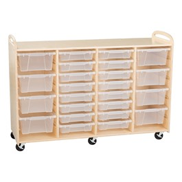 Four-Section Wooden Mobile Storage Unit - Assembled w/ 16 Clear Letter Bins & 8 Clear Medium Bins (Vertically)