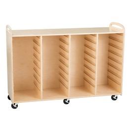Four-Section Wooden Mobile Storage Unit - Assembled