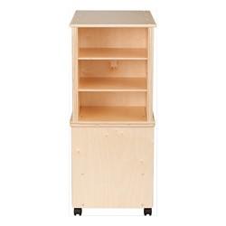 Wooden Storage Cabinet w/ Three Clear Bins & Shelves - Shelves