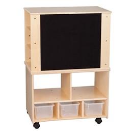 Wooden Storage Cabinet w/ Three Clear Bins & Shelves - Flannel Board