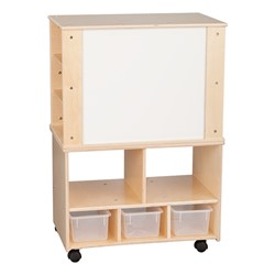 Wooden Storage Cabinet w/ Three Clear Bins & Shelves - Markerboard
