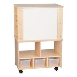 Wooden Storage Cabinet w/ Side Shelves