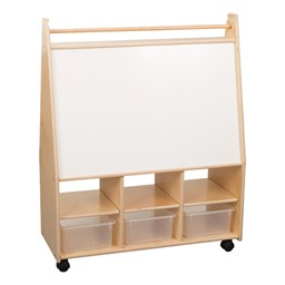 Wide Mobile Magnetic Art Center w/ Clear Trays